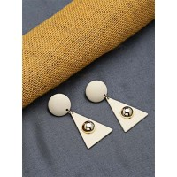 Cream and Golden Dangle Earrings