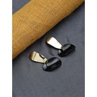 Short Golden and Black Dangle Earrings