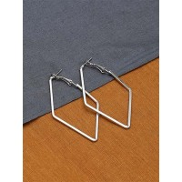 Silver Geometrical Western Earrings