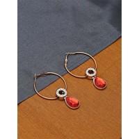 Golden and Red Designer Hoop Earrings