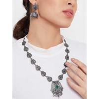 Silver Plated Brass Peacock Necklace Set