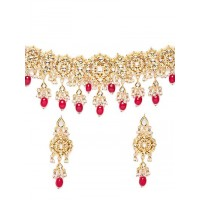 Pink Gold-Plated Kundan Studded and Beaded Choker Necklace Set