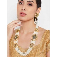White Gold-Plated Kundan Studded and Beaded Layered Necklace Set