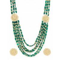 Green & Golden Kundan Layered Necklace Set