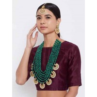 Green Beads and Kundan Encrusted Layered Handcrafted Jewellery Set