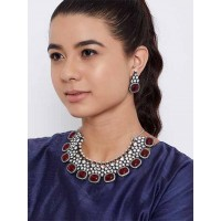 Silver-Plated Maroon Gemstones Encrusted Handcrafted Necklace Set
