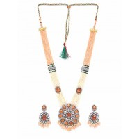 Peach and White Gemstones Encrusted Handcrafted Necklace Set