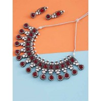 Silver Plated & Maroon Gemstones Encrusted Handcrafted Necklace Set