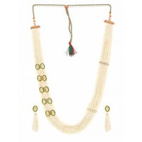 Gold-Plated White and Green Layered Pearl Necklace Set