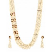 Gold-Plated White and Red Layered Pearl Necklace Set