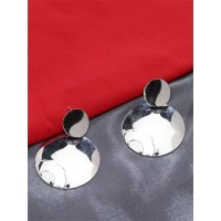 Lightweight Metallic Silver Round Earrings