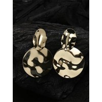Lightweight Golden Round Dangle Earrings with Metallic Finish