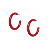 Lightweight Red Hoop Earrings