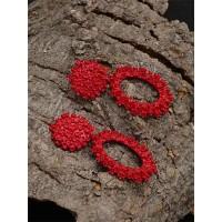 Red Floral Dangle Earrings