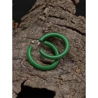Lightweight Green Hoop Earrings