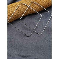 Lightweight Silver Big Square Earrings