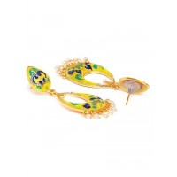 Yellow Meenakari Dangle Earrings