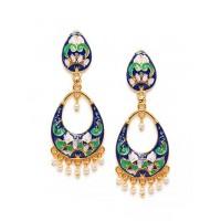 Blue and Lavender Meenakari Dangle Earrings