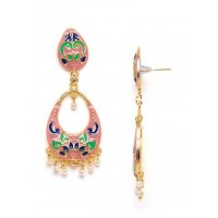 Pink Floral Meenakari Dangle Earrings