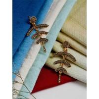 Designer Golden Ethnic Earrings For Women