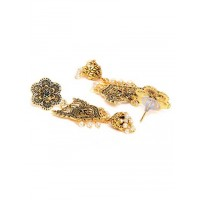 Golden Peacock Dangle Earrings With Floral Motifs