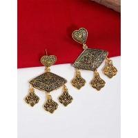 Floral Golden Dangle Earrings