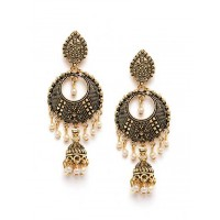 Golden Moon Earrings with Pearls