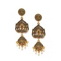Golden Peacock Dangle Earrings