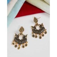 Short Golden Peacock Ethnic Earrings