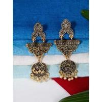 Lightweight Golden Ethnic Dangle Earrings