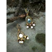 Long Golden Mirror Dangle Earrings With Pearls