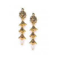 Layered Peacock Golden Dangle Earrings