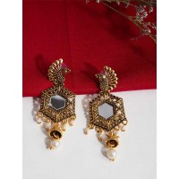 Golden Peacock Mirror Dangle Earrings