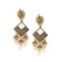 Long Golden Peacock Mirror Dangle Earrings