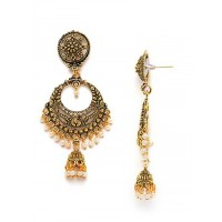 Golden Bali Earrings with Pearls and Floral Motifs