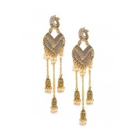 Long Peacock Golden Kashmiri Earrings With Pearls