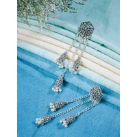 Long Silver Kashmiri Earrings With Pearls