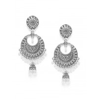 Chandbali Oxidized Silver Earrings
