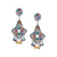 Floral Multicolored Oxidized Silver Earrings With Mirrors
