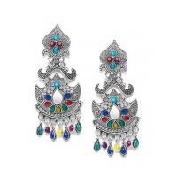Artistic Multicolored Oxidized Silver Mirror Earrings