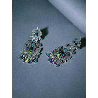 Artistic Multicolored Oxidized Silver Mirror Earrings
