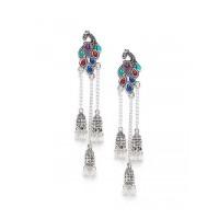 Long Multicolored Peacock Kashmiri Earrings