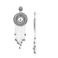 Long Oxidized Silver Round Earrings With Silver Chains