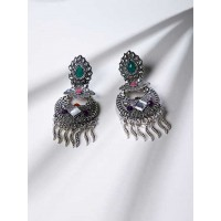 Multicolored Oxidized Silver Floral Earrings