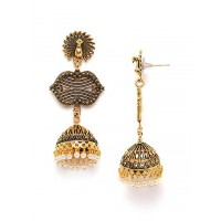 Long Golden Peacock Ethnic Jhumkas With Pearls