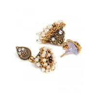 Short Golden Ethnic Jhumkas With Pearls and Silver Stones