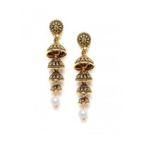 Golden Layered Ethnic Jhumkas For Women & Girls