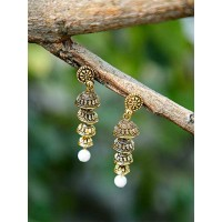Golden Layered Ethnic Jhumkas