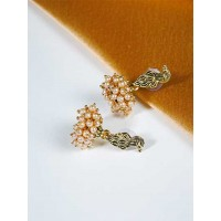 Short Peacock Jhumkas With Pearls