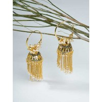 Golden Bali Earrings with Pearls and Golden Chains